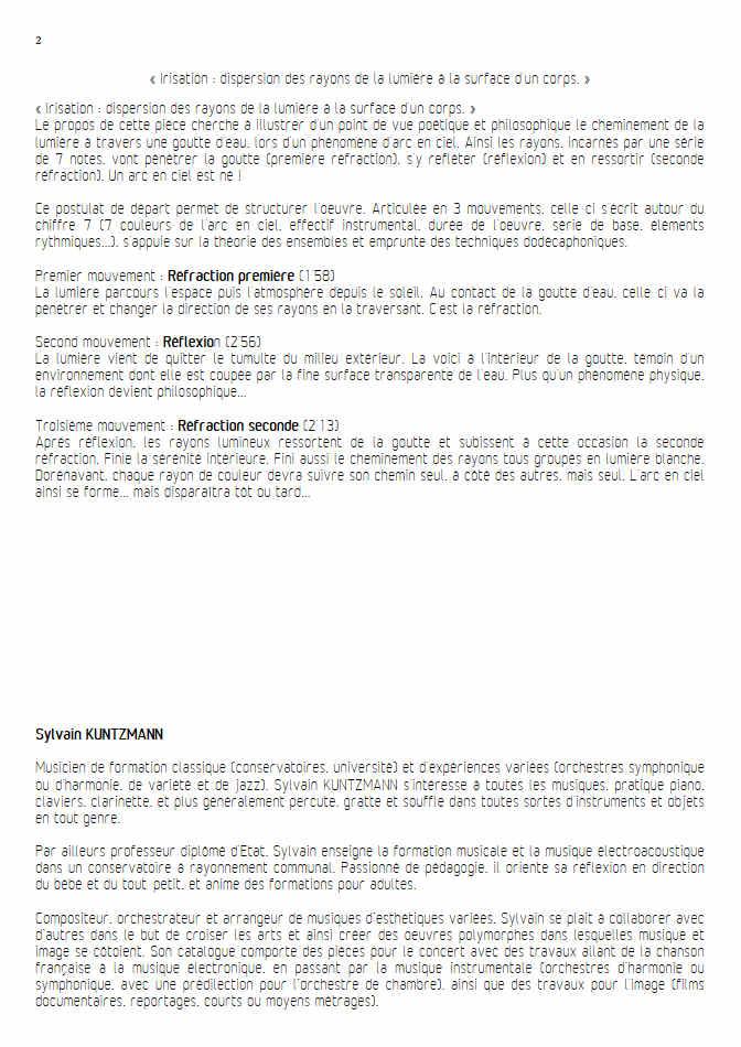 Irisation (3 Mvt) - Septuor - KUNTZMANN S. - Educationnal sheet