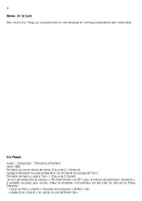 La cruche à l'eau - Quatuor à Cordes - PLOQUIN E. - Educationnal sheet
