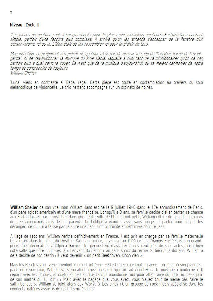 Luna - Quatuor à Cordes - SHELLER W. - Educationnal sheet
