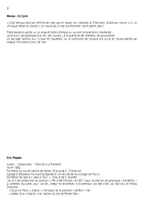 Emilie si verte - Quatuor à Cordes - PLOQUIN E. - Educationnal sheet