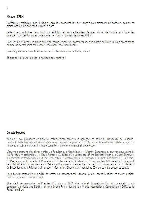 2 Ariettes - Duo Flûte & Piano - MOUREY C. - Educationnal sheet