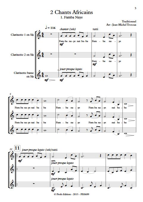 2 Chants Africains - Trio de Clarinettes - TRAD. AFRICAIN - app.scorescoreTitle