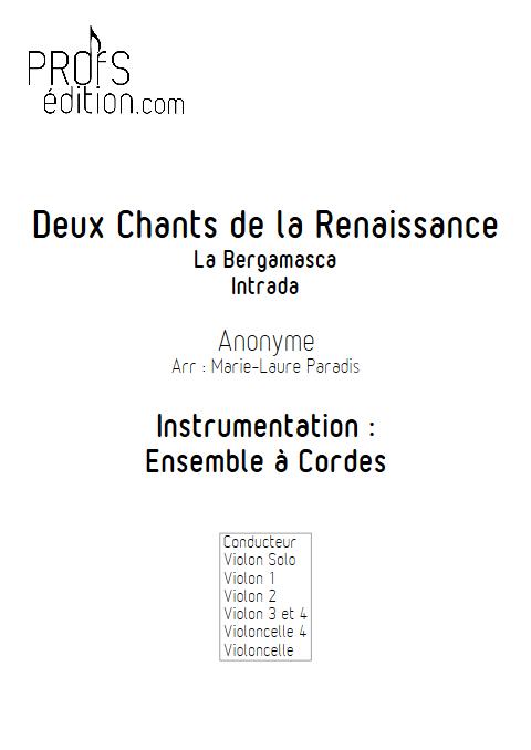 2 Chants de la Renaissance - Ensemble à Cordes - ANONYME - front page