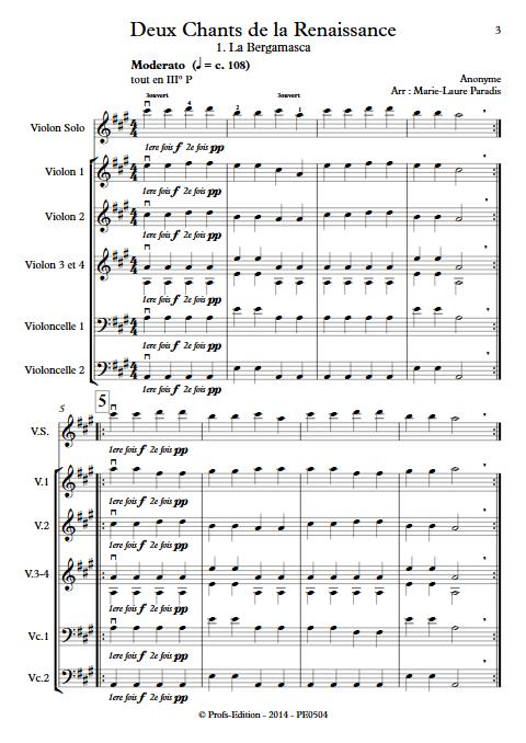 2 Chants de la Renaissance - Ensemble à Cordes - ANONYME - app.scorescoreTitle