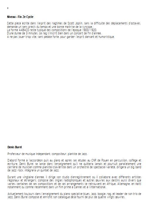 20 doigts pour 1 ragtime - Piano 4 mains - BUREL D. - Educationnal sheet