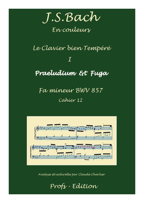 Clavier Bien Tempéré 1 BWV 857 - Analyse - CHARLIER C. - front page