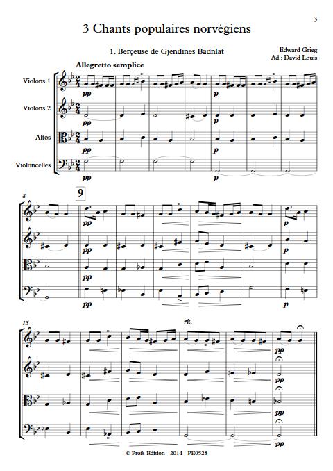 3 chants Norvegiens Op. 66 - Quatuor à Cordes - GRIEG E. - app.scorescoreTitle