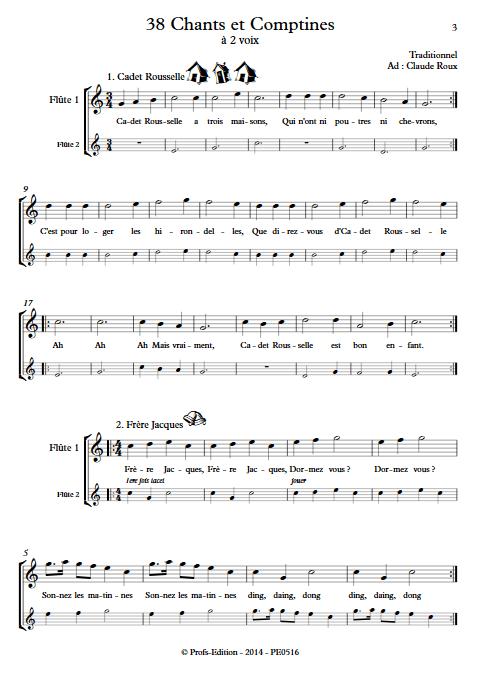 38 Chants et Comptines - Duos de Flûtes - TRADITIONNEL - app.scorescoreTitle