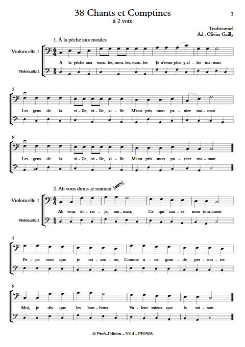 38 Chants et Comptines - Duos de Violoncelles - TRADITIONNEL - app.scorescoreTitle