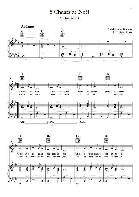 5 Chants de Noël - Piano Voix - TRADITIONNEL - app.scorescoreTitle