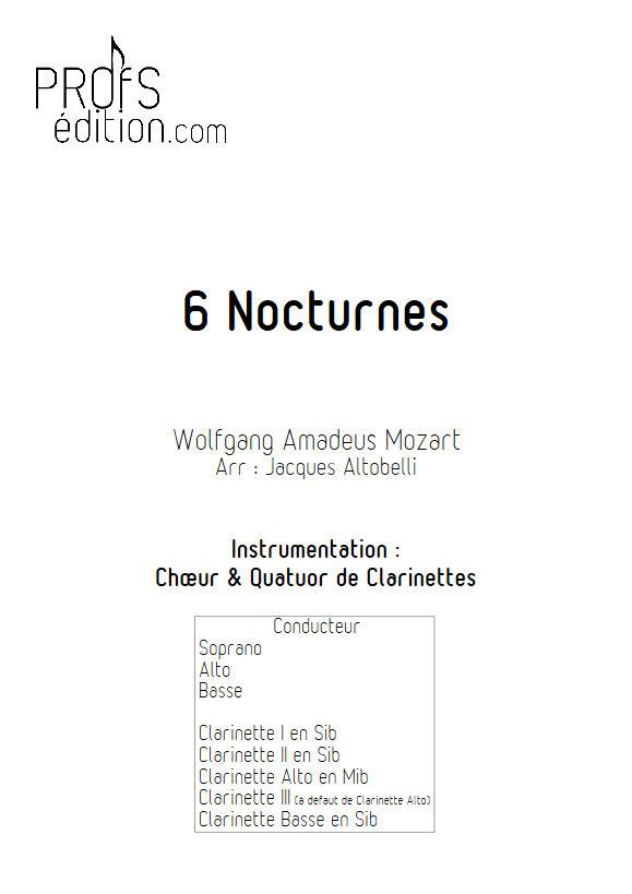 6 Nocturnes  - Chœur & Quatuor Clarinettes - MOZART W. A. - front page
