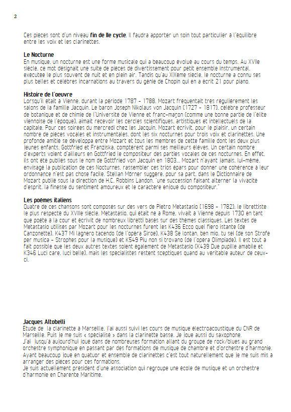6 Nocturnes  - Chœur & Quatuor Clarinettes - MOZART W. A. - Educationnal sheet