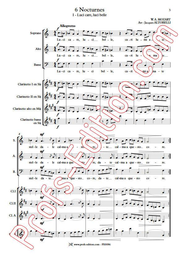 6 Nocturnes  - Chœur & Quatuor Clarinettes - MOZART W. A. - app.scorescoreTitle