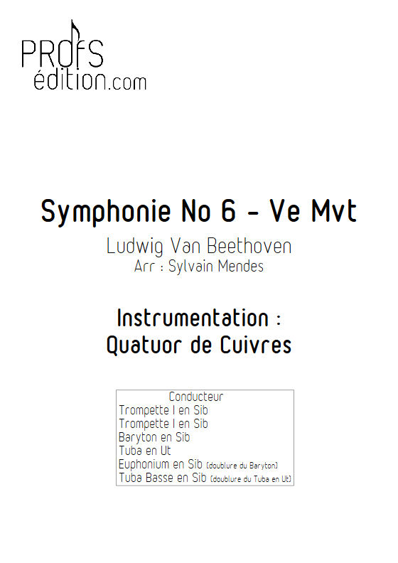 Symphonie N°6 (5e Mvt) - Quatuor de Cuivres - BEETHOVEN L. V. - front page