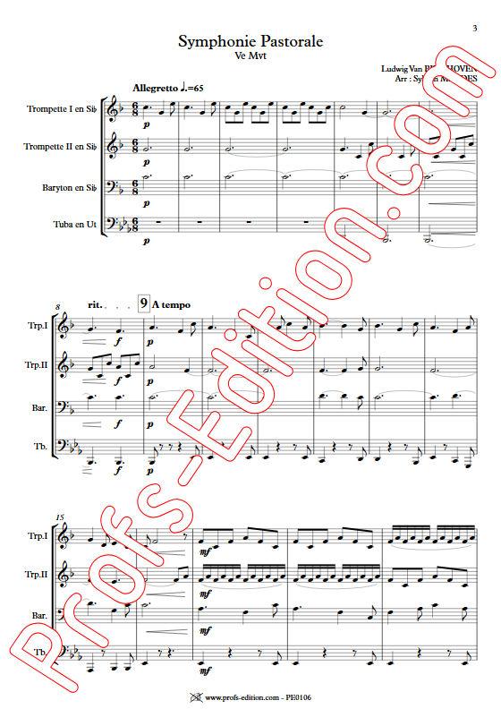 Symphonie N°6 (5e Mvt) - Quatuor de Cuivres - BEETHOVEN L. V. - app.scorescoreTitle