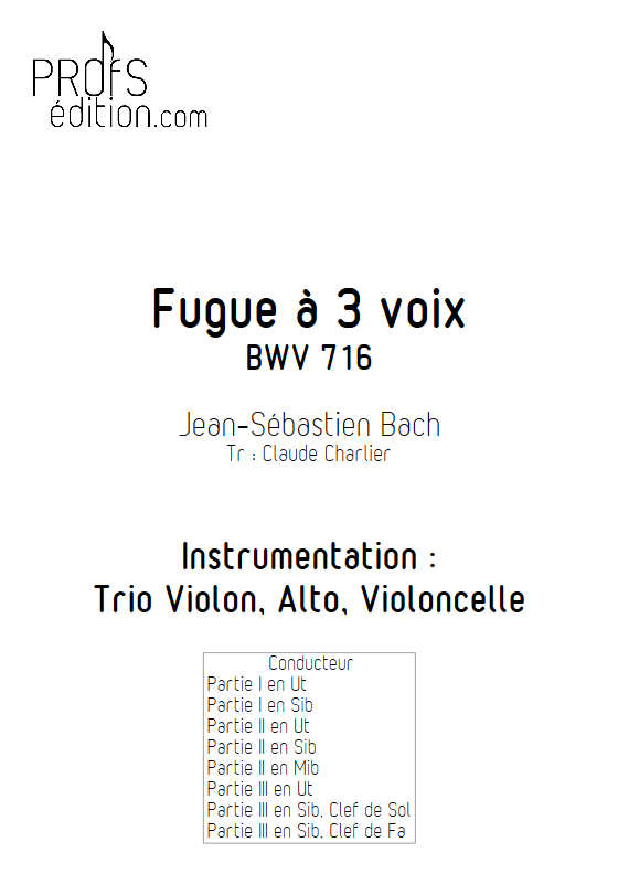 Choral BWV 716 - Trio - BACH J. S. - front page