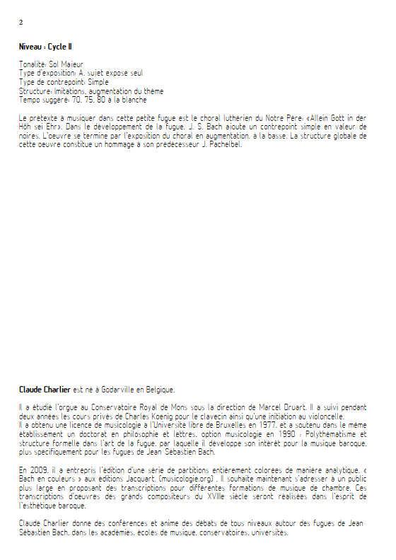 Choral BWV 716 - Trio - BACH J. S. - Educationnal sheet