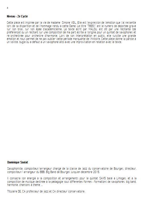 78651 - Quintette de Saxophones - SOULAT D. - Educationnal sheet