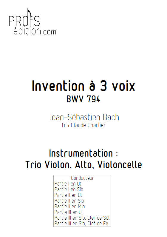 Invention BWV 794 - Trio - BACH J. S. - front page