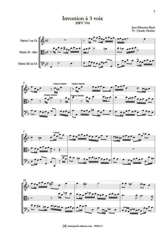 Invention BWV 794 - Trio - BACH J. S. - app.scorescoreTitle