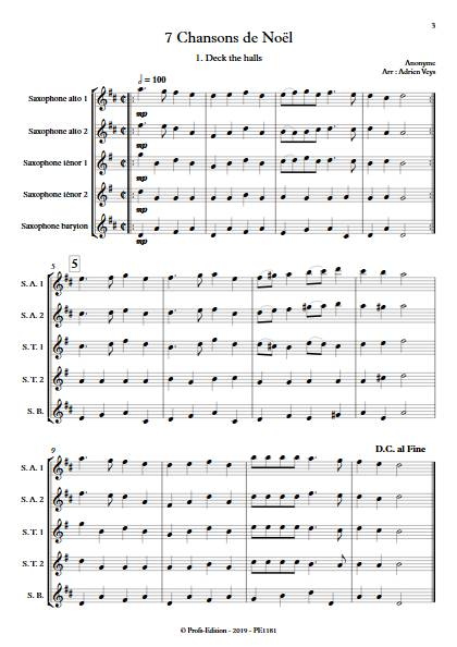 7 Chansons de Noël - Quintette de Saxophones - TRADITIONNEL - app.scorescoreTitle