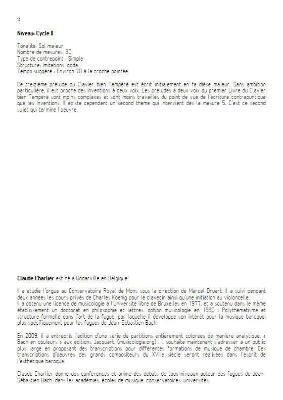 Prelude BWV 858 Clavier bien tempéré - Duo violon violoncelle - BACH J. S. - Educationnal sheet