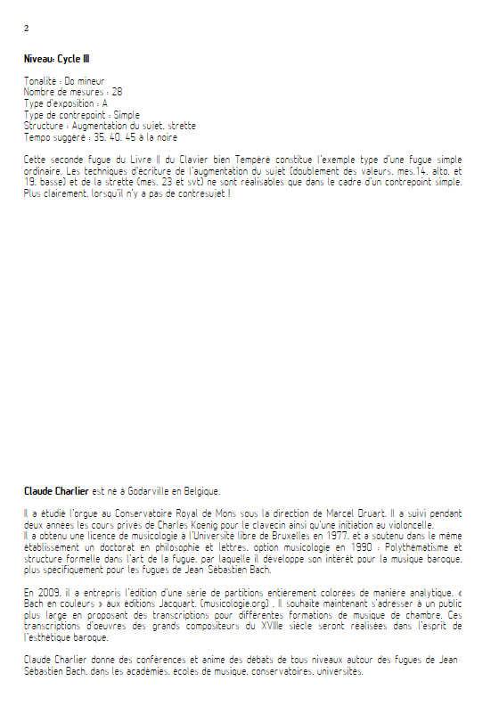 Clavier bien tempéré BWV 871 - Quatuor à Cordes - BACH J. S. - Educationnal sheet