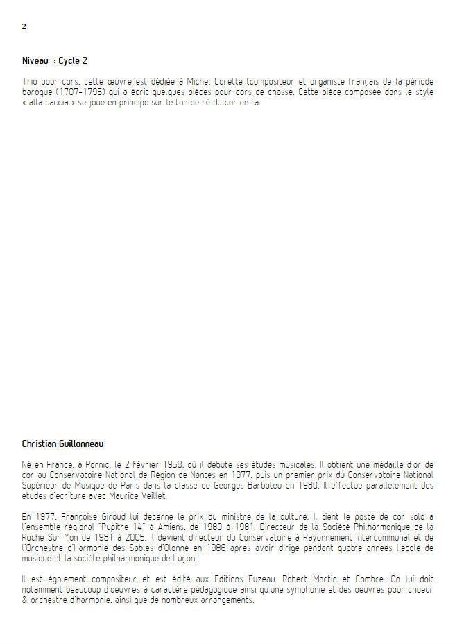 A l'époque de Mr Corrette - Trio Cors - GUILLONNEAU C. - Educationnal sheet