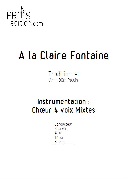 A la Claire Fontaine (version Québécoise) - 4 voix mixtes - TRADITIONNEL - front page