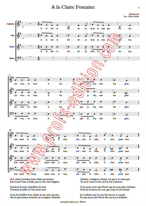 A la Claire Fontaine (version Québécoise) - 4 voix mixtes - TRADITIONNEL - app.scorescoreTitle