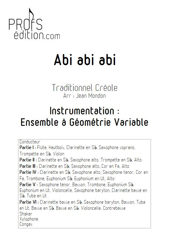 Abi abi abi - Ensemble Variable - TRADITIONNEL CREOLE - front page