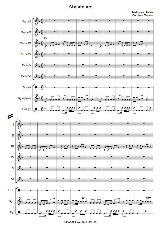 Abi abi abi - Ensemble Variable - TRADITIONNEL CREOLE - app.scorescoreTitle