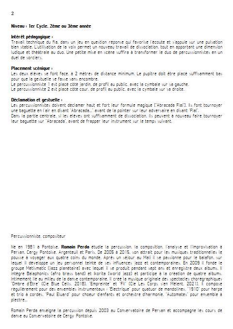 Abracada Fla - Duo Percussions - PERDA R. - Educationnal sheet