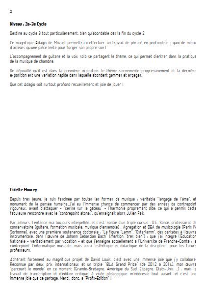 Adagio - Flûte et Guitare et Guitare - MOZART W. A. - Educationnal sheet