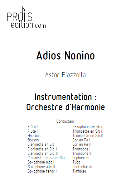 Adios Nonino - Orchestre d'Harmonie - PIAZZOLLA A. - front page