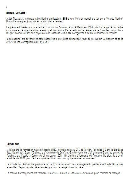 Adios Nonino - Orchestre d'Harmonie - PIAZZOLLA A. - Educationnal sheet
