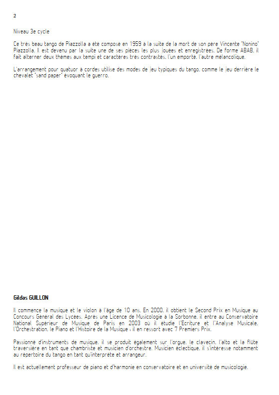 Adios Nonino - Quatuor à Cordes - PIAZZOLA A. - Educationnal sheet