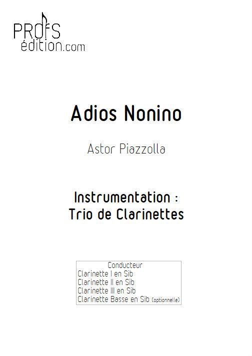 Adios Nonino - Trio de Clarinettes - PIAZZOLA A. - front page