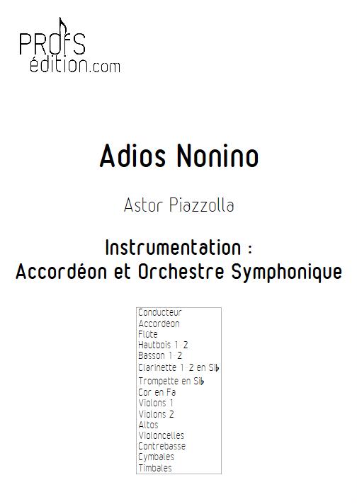 Adios Nonino - Accordéon et Orchestre Symphonique - PIAZZOLLA A. - front page