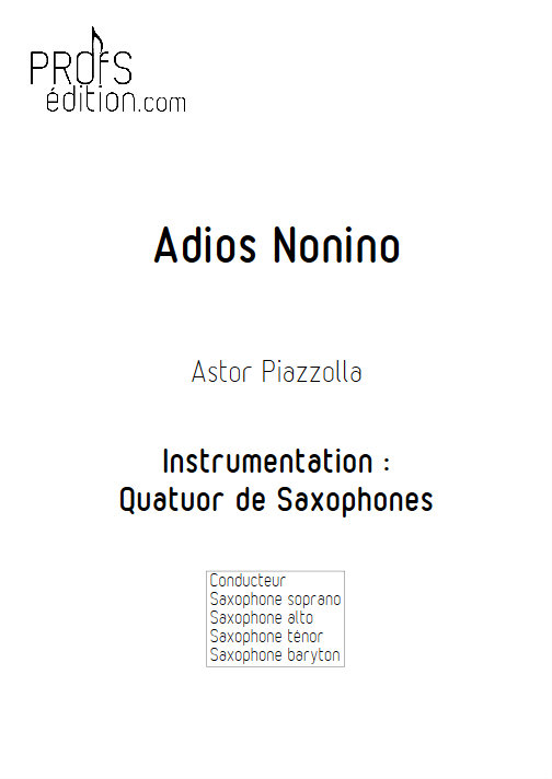 Adios Nonino - Quatuor de Saxophones - PIAZZOLLA A. - front page
