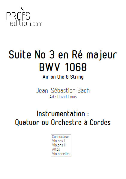 Air on G String - Quatuor à Cordes- BACH J.S. - front page