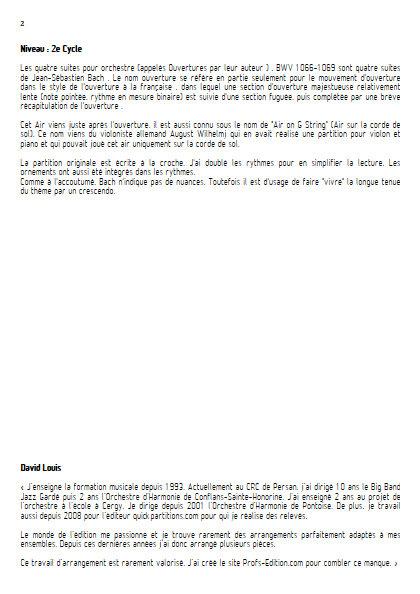 Air on G String - Quatuor à Cordes- BACH J.S. - Educationnal sheet