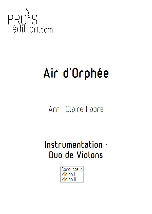 Air d'Orphée - Duo Violons - GLUCK C. W. - front page
