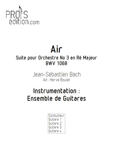 Air de Bach - BWV 1068 - Ensemble de Guitares - BACH J. S. - front page