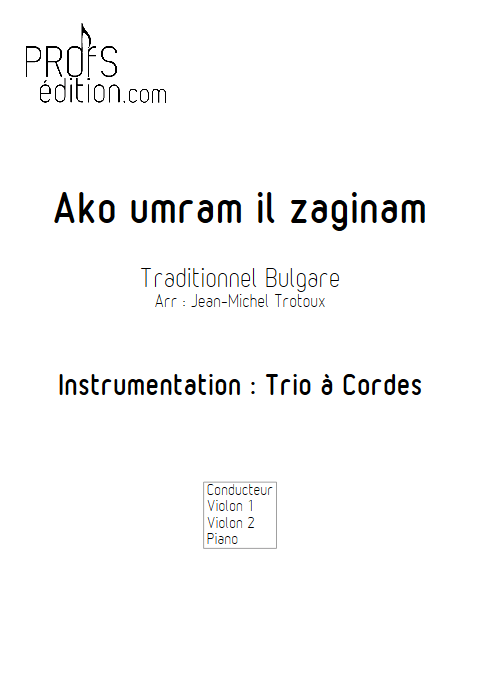 Ako umram il zaginam - Trio 2 Violons et Piano - TRADITIONNEL BULGARE - front page