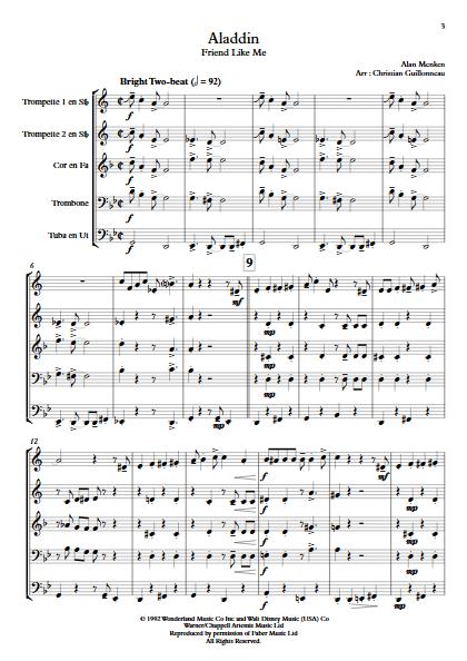 Aladdin (Je suis ton meilleur Ami) - Quintette de Cuivres - MENKEN A. - app.scorescoreTitle