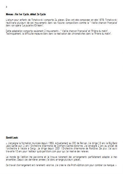 Album pour Enfants - Ensemble Variable - TCHAIKOVSKY P. I. - Educationnal sheet