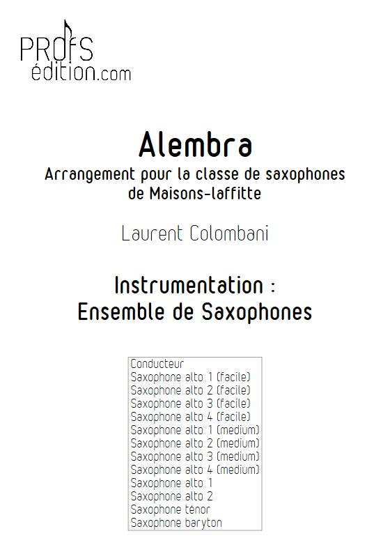 Alembra - Ensemble de Saxophones - COLOMBANI L. - front page