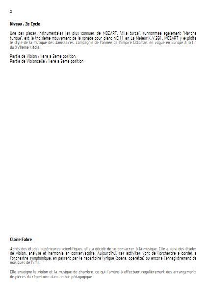 Alla Turca - Duo Violon & Violoncelle - MOZART W. A. - Educationnal sheet