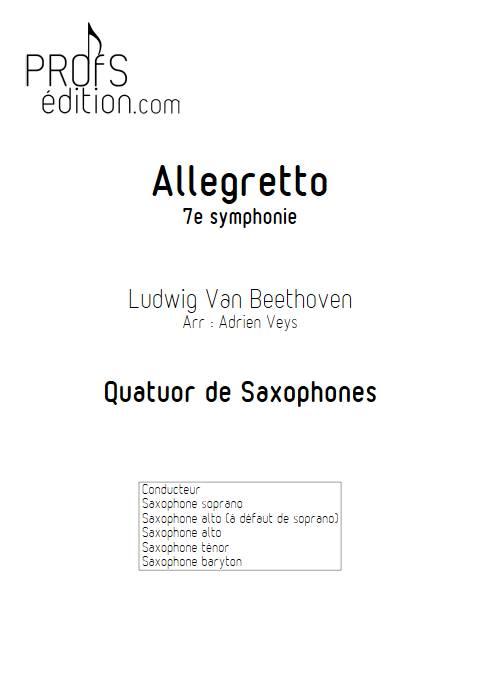 Allegretto 7e symphonie - Quatuor de Saxophones  - BEETHOVEN L. V. - front page